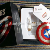 Cell Phone Charger 6800mAh Avengers Captain America Power Banks dual USB Stainless Steel Mobile chargers for iPhone 6 android phones