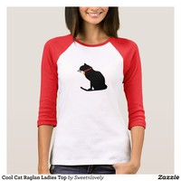 Cool Cat Raglan Ladies Top
