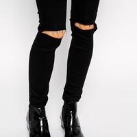 ASOS PETITE Ridley Skinny Jeans In Clean Black With Busted Knees