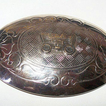 "Calistoga Wagon Belt Buckle Silver Plated Metal Made in USA Cowboy Western Jewelry 3"" Vintage"