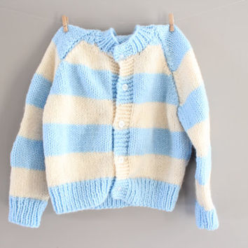 Hand Knitted Toddler Cardigan Pastel Blue Cream Striped Cardigan Baby Shower Gift Handmade Cardigan Baby Sweater Size 2 to 3 Years Old