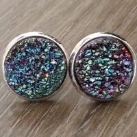 Druzy earrings-Purple teal silver tone stud druzy earrings