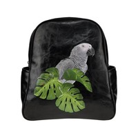 Backpack with grey parrot