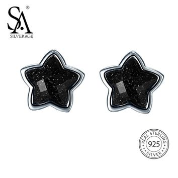 SA SILVERAGE 925 Silver Star Stud Earrings for Women Fine Jewelry Black Vintage 925 Sterling Silver Earrings Female