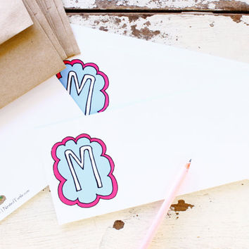 Fun Monogram Stationery Cards.  Custom Initial Flat Stationery Card Set of 12 Cards & Envelopes. Pink and Blue Cloud.