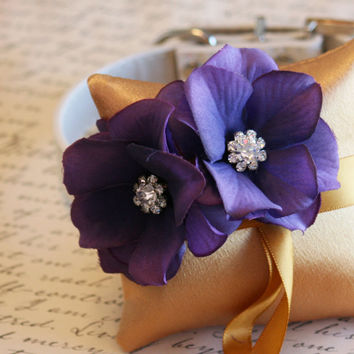 Gold and Purple Ring Pillow, Dog Ring Bearer, Pillow attach to white Leather Collar, Gold and Purple wedding, Pet wedding accessory