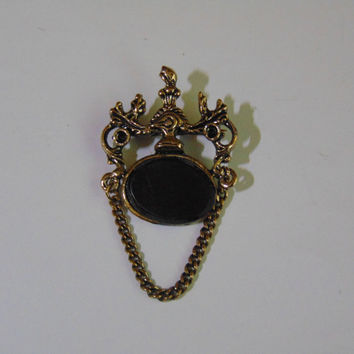 Vintage Door Knocker Plastic Black Oval with chain Brooch Pin Lapel