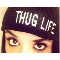 The THUG LIFE beanie in black.