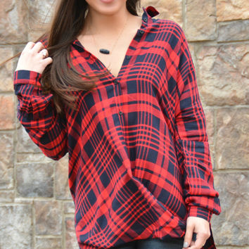 Bending The Rules Top - Red Plaid