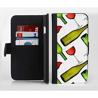 The Red Wine Bottles and Glasses Ink-Fuzed Leather Folding Wallet Credit-Card Case for the Apple iPhone 6/6s, 6/6s Plus, 5/5s and 5c