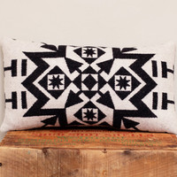 Geometric Wool Pillow // White & Black / Grey Back / Snowflake