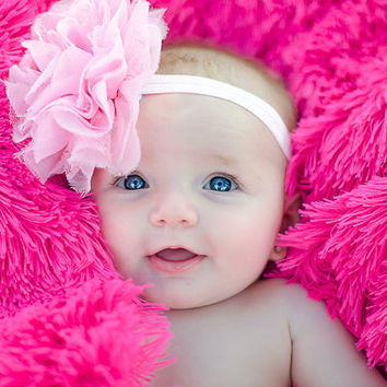 Pink Flower Headband Baby Girl Infant Newborn Headband Chiffon Lace Head Band