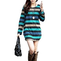 Star Printed Striped  Long Sleeves  Tunic Pullover Mini Dress in Blue