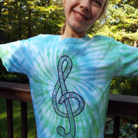 Treble Clef Shirt for Kids, Youth Large Tie Dye Music Shirt, Treble Clef Tshirt, Kids Music Gift, Childrens Music Tee, Musical, Musician