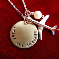 Enjoy the Journey Hand Stamped Sterling Silver Necklace with Airplane Charm