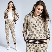 GUCCI Fashion Women Casual Print Knit Long Sleeve Sweater Pants Sweatpants Set Two-Piece Sportswear