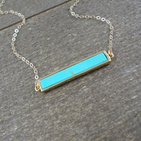 14k gold filled chain with anti-tarnish gold plated brass turquoise bar necklace / bridesmaid / dainty / minimalist / December birthstone