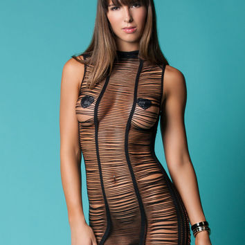 After Dark Shredded Mini Dress (One Size,Black)