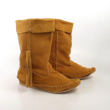 Suede Moccasin Boots Vintage Tan Brown Fringe Women's size 38