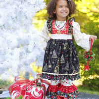 Girls Christmas Dress with Ruffle Pants