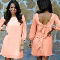 Peach Bow Dress with Long Sleeves