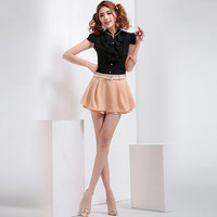 Belted Mini A-Line Skirt Shorts