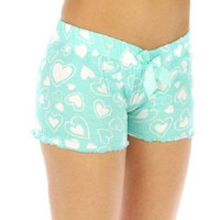 Mint Hearts Cotton Sleep Shorts w Bow Trim Front In Size Large