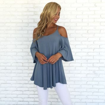 Gratitude Open Shoulder Tunic Blouse In Blue