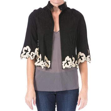 Catherine Malandrino Womens Suede Embroidered Cropped Jacket