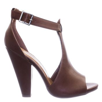 Speakup Taper Block Heel Peep Toe Double Open Shank d'Orsay Pump w Ankle Strap