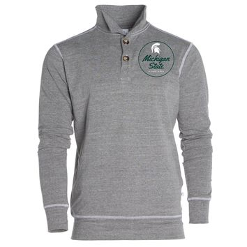 Official NCAA Michigan State University Spartans MSU Sparty Women's Boyfriend Fit Triblend 1/4 Button Pullover Full Sleeve O-Neck Durable Premium Sweatshirt