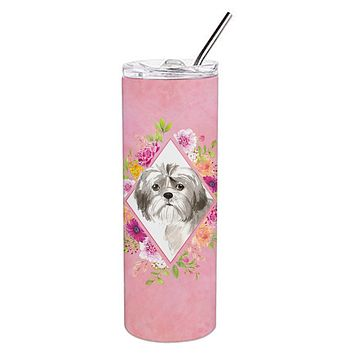 Shih Tzu Puppy Pink Flowers Double Walled Stainless Steel 20 oz Skinny Tumbler CK4211TBL20