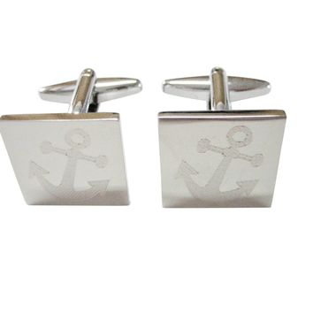 Silver Toned Etched Leaning Nautical Anchor Cufflinks