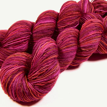 Hand Dyed Yarn - Sock Weight Superwash Merino Wool Singles Yarn - Merlot Multi - Knitting Yarn, Sock Yarn, Wool Yarn, Single Ply, Red Yarn