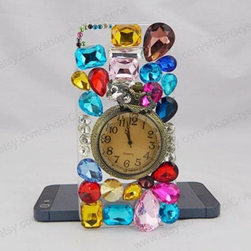 Retro pocket watch iPhone case,bling iphone 6 case,Crystal iphone 6 Plus,Rhinestone iphone 5/5S/5c,iphone 4 case samsung galaxy S3/S4/S5
