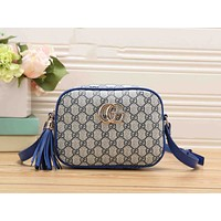 Gucci Fashion Women Tassel Print Leather Shoulder Bag Zipper Crossbody Satchel Blue I-RF-PJ