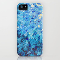 SEA SCALES IN INDIGO - Stunning Ocean Waves Mermaid Fish Navy Royal Blue Marine Abstract Painting iPhone Case by EbiEmporium | Society6