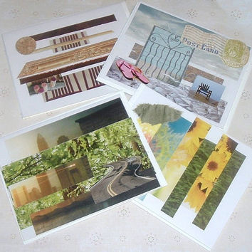 Note cards, collage, mixed media, city scape, beach, art deco, blank set of four