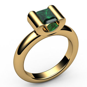 Emerald Engagement ring, Radiant cut, Solitaire Emerald Ring,0.70 carat,18K Yellow,18K White gold