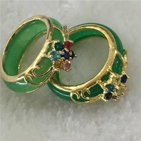 2 Piece Hand Carved Green Jade Rings