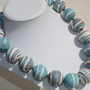 Large Lampwork Necklace - Gray Ivory Turquoise Blue Lampwork Glass Beads - Round Hollow Beads - Striped Jewelry -  Boho Necklace - Handmade