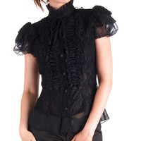 Black Gothic Shirt with Tulle and Lace | Crazyinlove International