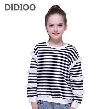 T-shirts for Girls Long Sleeve Stripe Kids Cotton Tops Children Autumn Tees Spring Kids T shirts