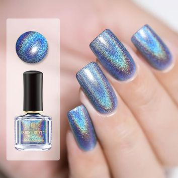 BORN PRETTY 6ml Deluxe Holographic Nail Polish Laser Glitter Nail Lacquer Varnish Polish 3-in-1 Water Based Base Top Coat Care