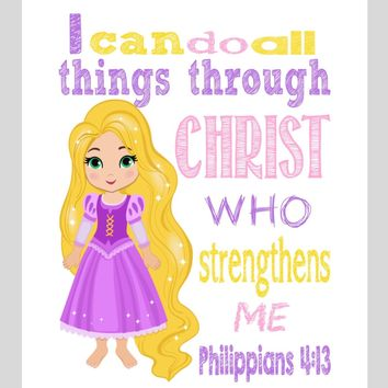 Rapunzel Christian Princess Nursery Decor Art Print - I Can Do All Things Through Christ Who Strengthens Me - Philippians 4:13 Bible Verse - Multiple Sizes