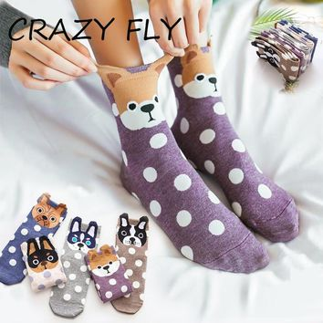 CRAZY FLY 2019 Fashion Hot Sale Level Dog Dot Pattern Harajuku Cotton Socks Fun Socks Women Happy Christmas Socks for Men Sock