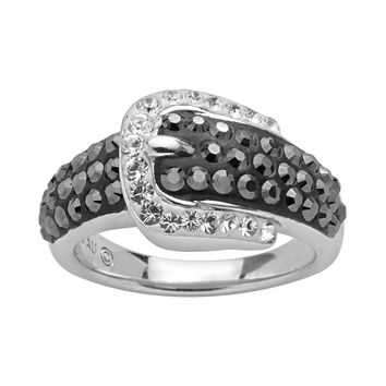 Artistique Sterling Silver Crystal Buckle Ring - Made with Swarovski Elements (Black)