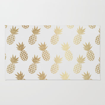 Gold Pineapple Pattern Rug by Tanyadraws