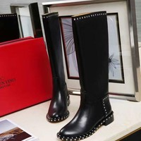 VALENTINO Trending Women Black Leather Zipper knight Boots Shoes Best Quality