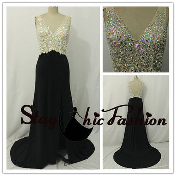 2015 Womens Sexy Black V Neck Illusion Rhinestone Beaded Top Low Back Slit Jersey Evening Prom Dress